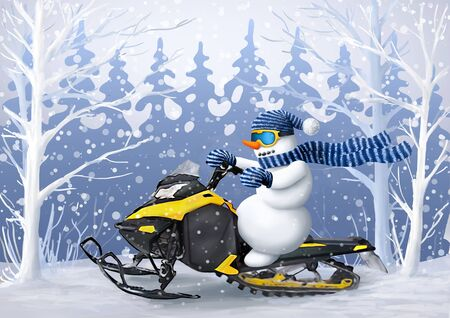 Snowman on a snowmobile rides through the winter forest. Illustration for Christmas and New Year. Winter recreation and entertainment.