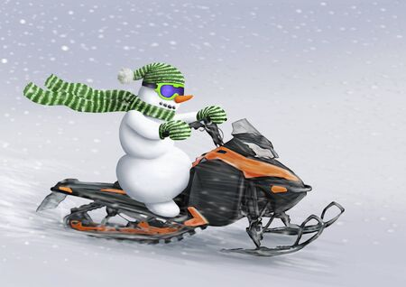 Snowman rides a snowmobile. Greeting card for Christmas and New Year. Winter
