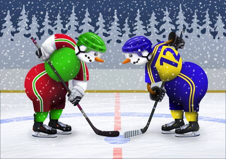 Snowmen on a skating rink in uniform and helmets play hockey. Winter recreation and sports activities. Merry christmas illustration. 스톡 콘텐츠