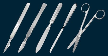 A set of surgical cutting tools. Reusable scalpel, delicate scalpel with removable blade, amputation knife Liston, metacarpal saw, scissors straight with blunt ends.