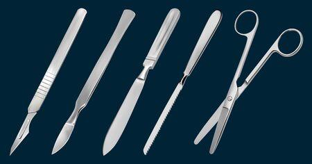 Un conjunto de herramientas de corte quirúrgico. Bisturí reutilizable, bisturí delicado con hoja removible, cuchillo de amputación Liston, sierra para metacarpiano, tijeras rectas con extremos romos. Ilustración de vector