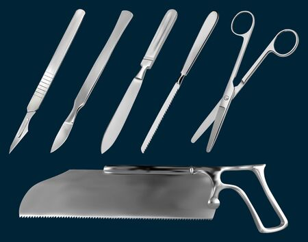 Set of surgical cutting tools. Reusable scalpel, delicate scalpel with removable blade, amputation knife Liston, metacarpal saw, scissors straight with blunt ends, saw sheet Satterlee.