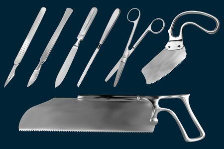 Conjunto de herramientas de corte quirúrgico. Bisturí reutilizable, bisturí con hoja extraíble, cuchillo de amputación Liston, sierra metacarpiana, tijeras rectas, hoja de sierra Satterlee, sierra Bergman para vendaje de yeso. Vector Ilustración de vector