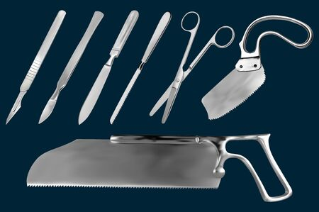 Set of surgical cutting tools. Reusable scalpel, scalpel with removable blade, Liston amputation knife , metacarpal saw, straight scissors, saw sheet Satterlee, Bergman saw for plaster bandage. Vector