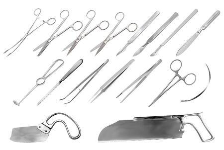 Un conjunto de instrumentos quirúrgicos. Pinzas, bisturís, cuchillo de amputación Liston, pinza, tijeras, gancho Folkman, pinza Meyer, aguja, sierra Langenbek, sierra para huesos Satterlee, sierra para yeso Bergman. Ilustración vectorial