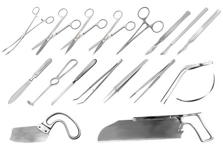 Conjunto de instrumentos quirúrgicos. Pinzas, bisturís, cuchillo de amputación Liston, pinza, tijeras, gancho Folkman, pinza Meyer, aguja, sierra Langenbek, sierra para huesos Satterlee, sierra para yeso Bergman. Ilustración vectorial Ilustración de vector