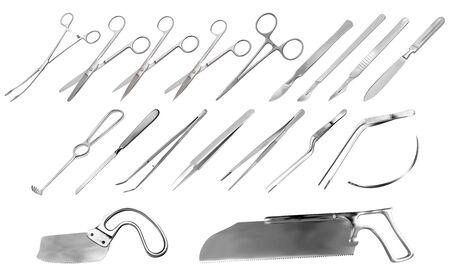 Conjunto de instrumentos quirúrgicos. Pinzas, bisturís, cuchillo de amputación Liston, pinza, tijeras, gancho Folkman, pinza Meyer, aguja, sierra Langenbek, sierra para huesos Satterlee, sierra para yeso Bergman. Ilustración vectorial