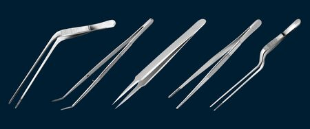 Set of tweezers. Long serrated angled tweezers, anatomical forceps, dental straight surgical pincers, curved tweezers, bayonet pincette. Manual surgical instrument. Vector illustrations
