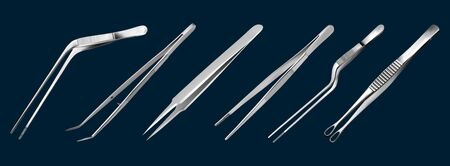 Set of tweezers. Long serrated angled tweezers, anatomical forceps, dental straight surgical pincers, curved tweezers, bayonet pincette, tumor grasping forceps. Manual surgical instrument. Vector