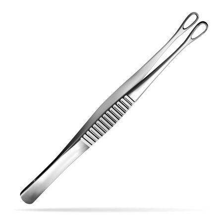 Surgical tumor grasping forceps. Tweezers for deduction of a tumor of a brain. Surgeon s hand tool. Realistic object on a white background. Vector