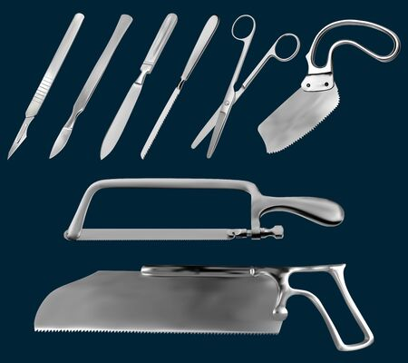 Set of surgical cutting tools. Reusable scalpels, Liston amputation knife , metacarpal saw, straight scissors, saw sheet Satterlee, Bergman saw for plaster bandage,Charriere Bone Saw. Vector