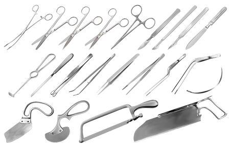 Surgical instruments set. Tweezers, scalpels, Liston s knife, clamp, scissors, Folkman hook, Meyer forceps, needle, Langenbek saw, Satterlee saw, Charriere bone saw, Bergman Engel Plaster saws. Vector