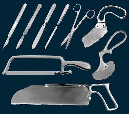 Set of surgical cutting tools. Reusable scalpels, Liston amputation knife , metacarpal saw, straight scissors, saw sheet Satterlee, Bergman Engel saws for plaster bandage,Charriere Bone Saw. Vector