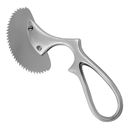 Engel plaster saw. Handheld metal tool to remove the plaster bandage. Medicine and health. Object on a white background. Vector illustration