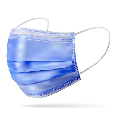 Medical mask is a disposable medical device, a barrier to the spread of airborne infections. Blue product. Realistic image on a white background.Vector illustration