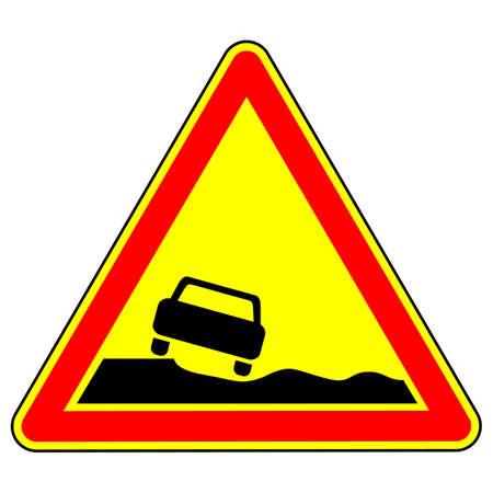 warning road sign dangerous roadside. traffic rules and safe driving. vector illustration.