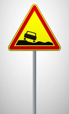 warning road sign dangerous roadside. triangular sign on a metal pole. traffic rules and safe driving. vector illustration.