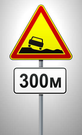 warning road sign dangerous roadside together with plate. triangular sign and rectangular plate on a metal pole. traffic rules and safe driving. vector illustration.