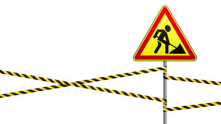 Traffic warning sign on a pole with a guard tape. Road works. Vector illustration. 일러스트
