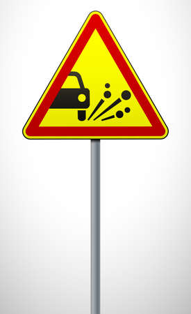warning road sign throwing stone materials. triangular sign on a metal pole. traffic rules and safe driving. vector illustration. 일러스트