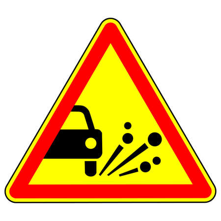 Throwing stone materials warning road sign. Traffic rules . Triangular sign on a white background. Vector illustration.