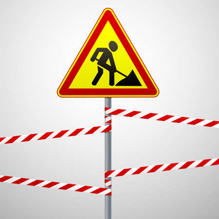 Road warning sign on a pole with a guard tape. Road works. Vector illustration. 일러스트