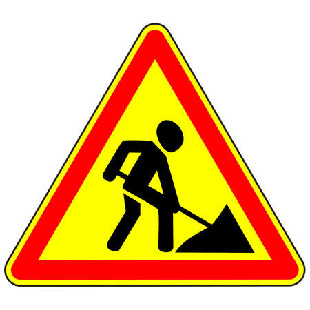 Road warning sign. Road works. Vector illustration. 일러스트