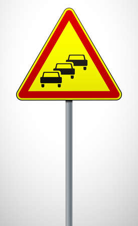 Traffic jams. Temporary warning sign on a metal pole. Traffic rules and traffic safety. Vector illustration.
