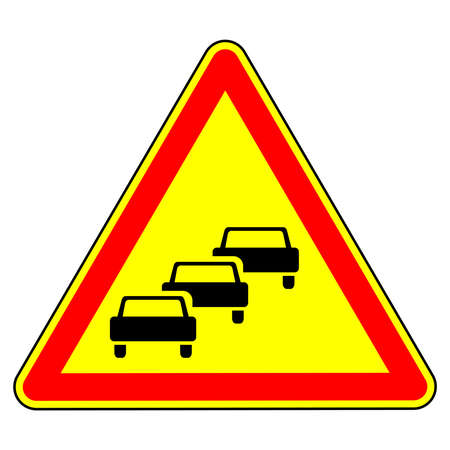 Traffic congestion. Temporary warning sign. Traffic regulations and road safety. Object on a white background. Vector illustration. Иллюстрация