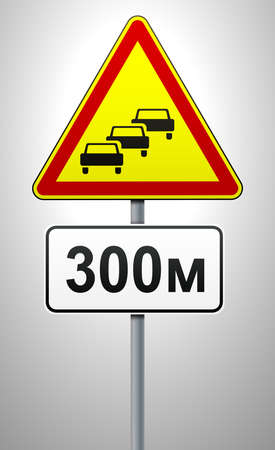 Traffic congestion. Temporary warning sign on a metal pole with a plate indicating the distance to the start of the obstacle. Traffic rules and traffic safety. Vector illustration.