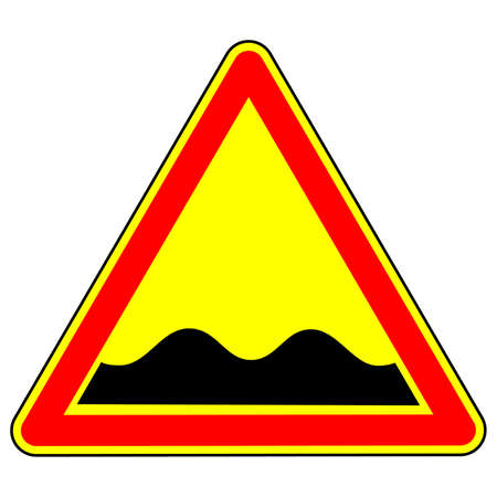 Warning traffic sign Pothole. Traffic Laws. Signs and road markings. The isolated object on a white background. Vector illustration.