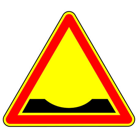 Warning traffic sign Pothole. Traffic Laws. Signs and road markings. The isolated object on a white background. Vector