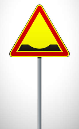 Warning road sign Pothole on the road. The sign on the post. Traffic Laws. Signs and road markings. Vector illustration 일러스트