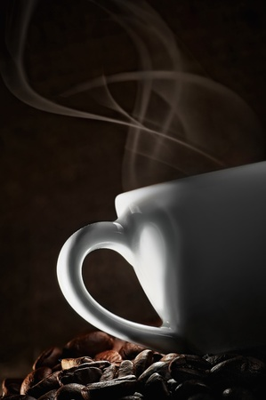desayuno romantico: Coffee amor. Taza caliente de caf�