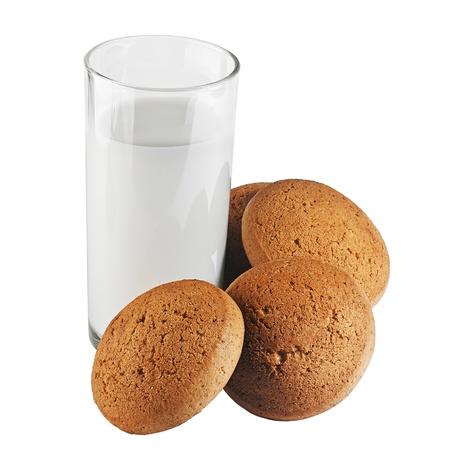 plato del buen comer: leche y galletas Foto de archivo