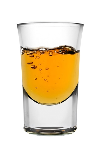 Glass of whiskey isolated over white background