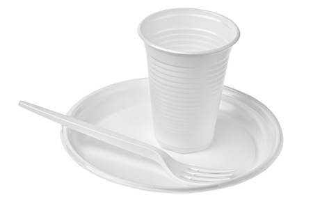 plastic plates and glasses Stock Photo