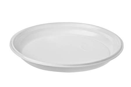 disposable: Disposable paper plate isolated on a white background.