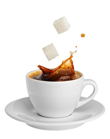 sugar cube: coffee splashing sugar