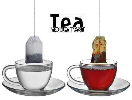 teabag: Teabag in the cup with hot water