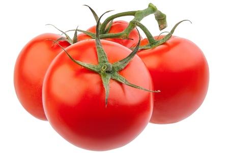 vid: Detalle de tomates en la vid aislados en blanco Foto de archivo
