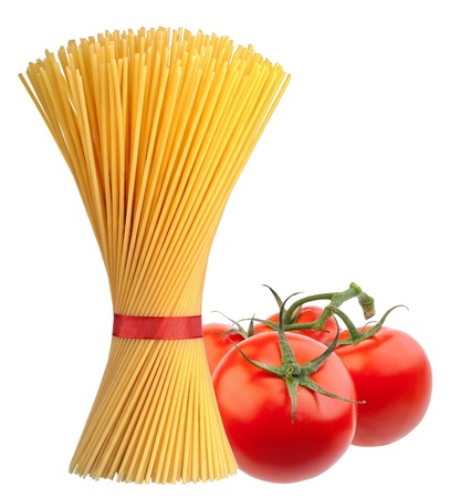 Bunch of spaghetti pasta with fresh tomatoes