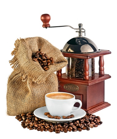 coffeebeans: coffee mill, canvas bag with coffee beans and a cup of black coffee isolated on white background