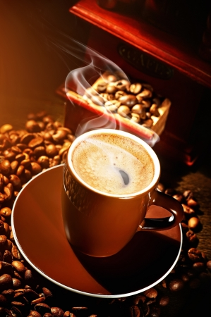 steaming cup of coffee: Coffee