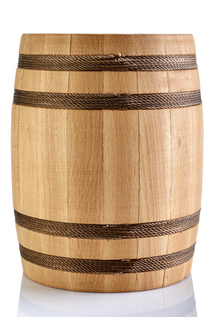 Wooden barrel isolated on a white background Stock Photo