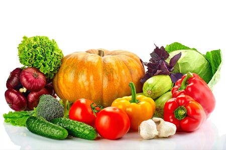 vegetables white background: collection fruits and vegetables isolated on a white background Stock Photo