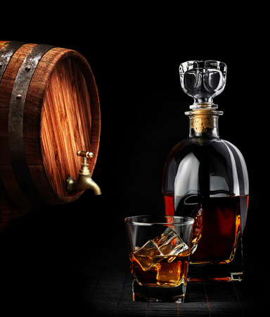 Cognac or brandy on a black background Stock Photo