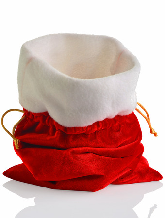 sackful: Santa Claus red bag, isolated on white background. Stock Photo