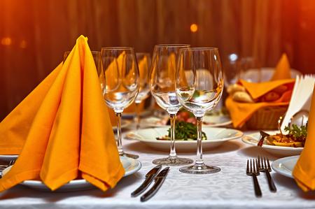 wine and dine: restaurant set Stock Photo