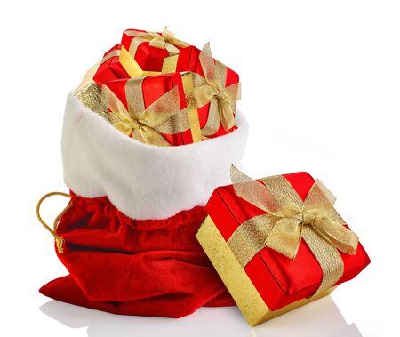 christmas isolated: Santa sack full with presents Stock Photo
